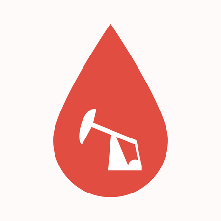 Illustration of an isolated blood drop sign with a horsehead pump