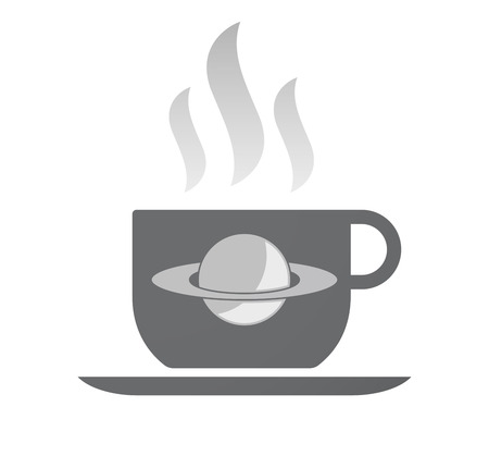 saturn rings: Illustration of an isolated coffee cup with the planet Saturn