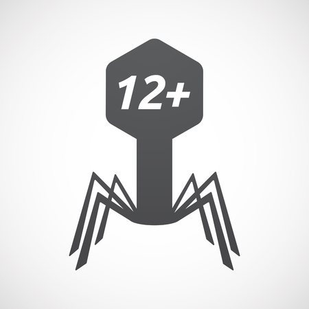 Illustration of an isolated virus with    the text 12+ Illustration