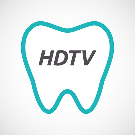 hdtv: Illustration of an isolated line art tooth with    the text HDTV