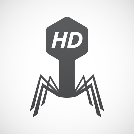 Illustration of an isolated virus with    the text HD Illustration