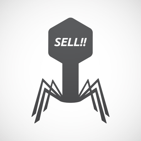 Illustration of an isolated virus with    the text SELL!! Illustration