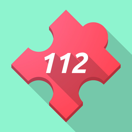 Illustration of a long shadow puzzle piece with    the text 112