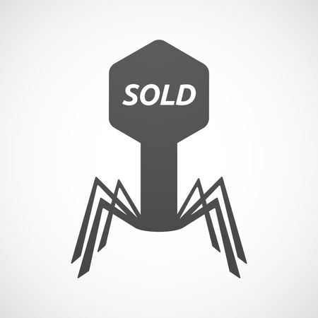Illustration of an isolated virus with    the text SOLD