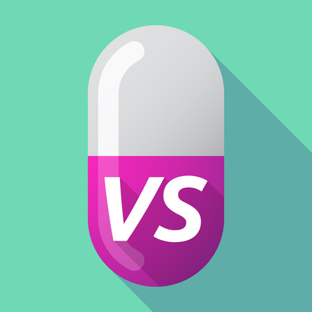 Illustration of a long shadow medical pill with    the text VS