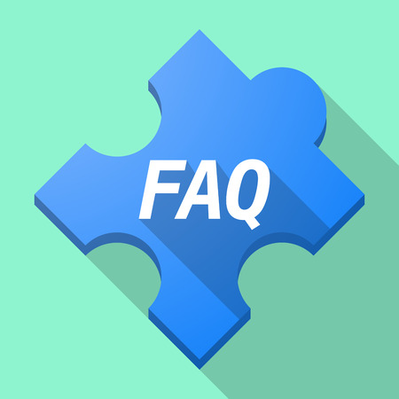asked: Illustration of a long shadow puzzle piece with    the text FAQ Illustration