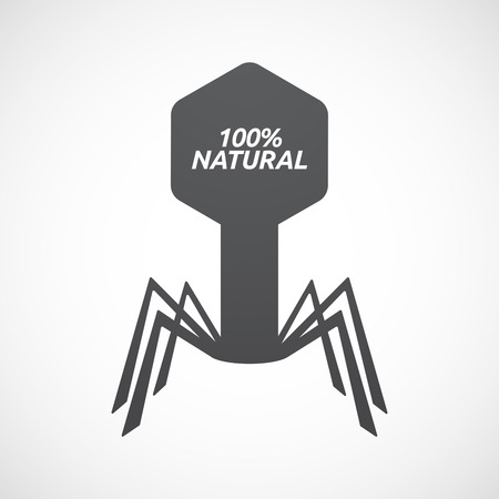 Illustration of an isolated virus with    the text 100% NATURAL