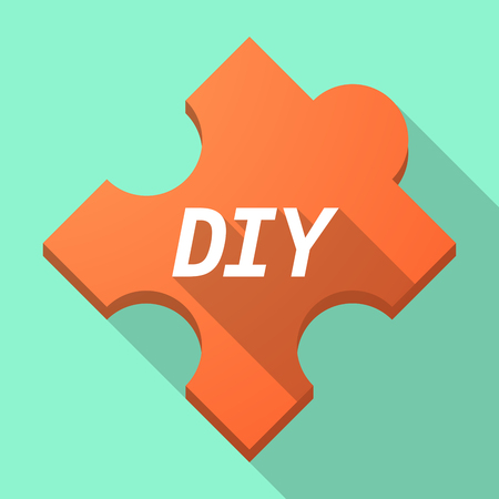 Illustration of a long shadow puzzle piece with    the text DIY