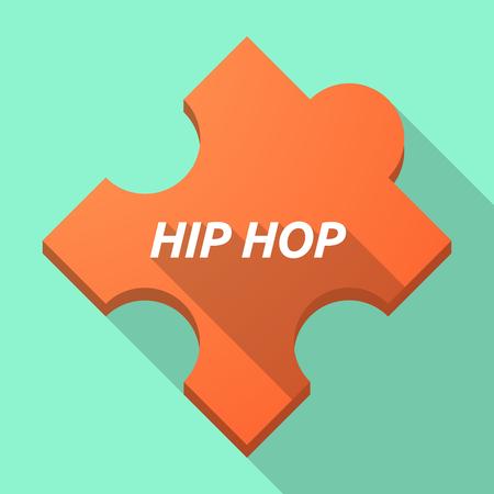 Ilustración de una pieza de rompecabezas de larga sombra con el texto HIP HOP Vectores