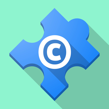 Illustration of a long shadow puzzle piece with    the  copyright sign Illustration