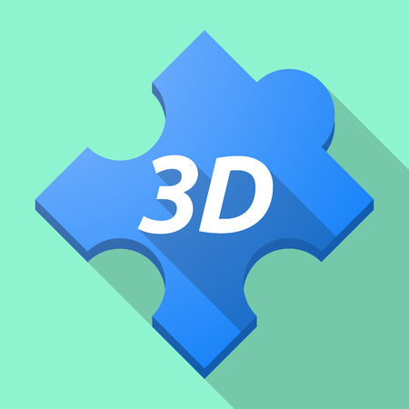 Illustration of a long shadow puzzle piece with    the text 3D