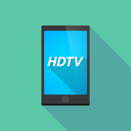hdtv: Illustration of a long shadow smart phone with    the text HDTV