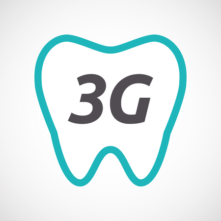 3g: Illustration of an isolated line art tooth with    the text 3G