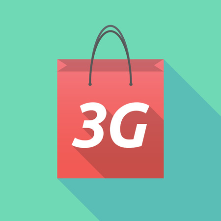 3g: Illustration of a long shadow shopping bag with    the text 3G Illustration