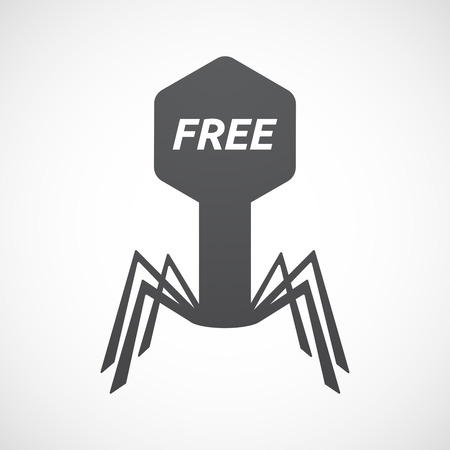 Illustration of an isolated virus with    the text  FREE