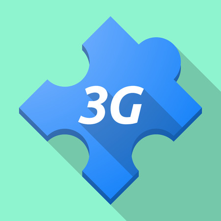 3g: Illustration of a long shadow puzzle piece with    the text 3G