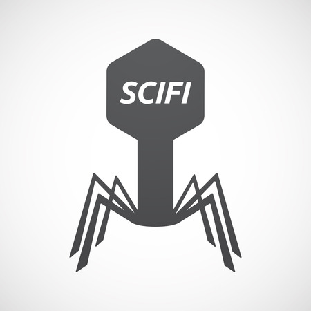 speculative: Illustration of an isolated virus with    the text SCIFI