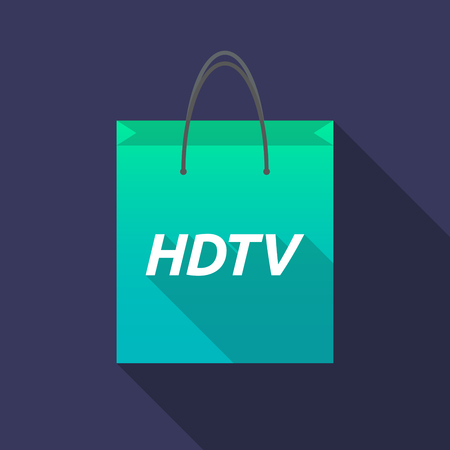 hdtv: Illustration of a long shadow shopping bag with    the text HDTV