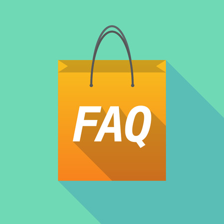 asked: Illustration of a long shadow shopping bag with    the text FAQ