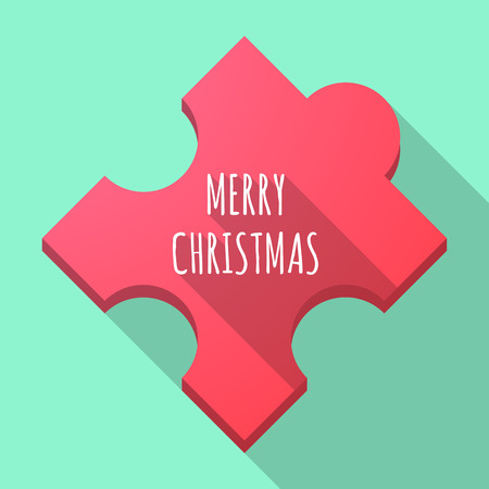 Illustration of a long shadow puzzle piece with    the text MERRY CHRISTMAS