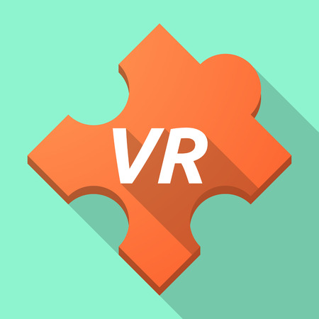 Illustration of a long shadow puzzle piece with    the virtual reality acronym VR