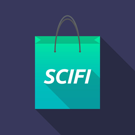speculative: Illustration of a long shadow shopping bag with    the text SCIFI Illustration