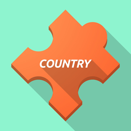 puzzle shadow: Illustration of a long shadow puzzle piece with    the text COUNTRY