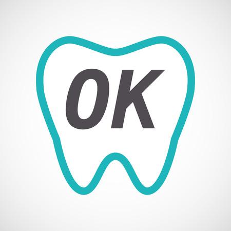 Illustratie van een geïsoleerde tand van de lijnkunst met de OK tekst
