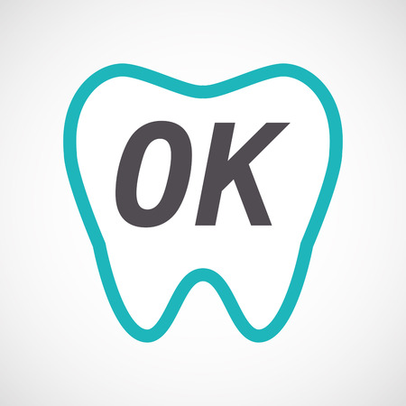 Illustration of an isolated line art tooth with    the text OK