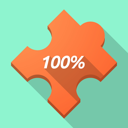 puzzle shadow: Illustration of a long shadow puzzle piece with    the text 100% Illustration