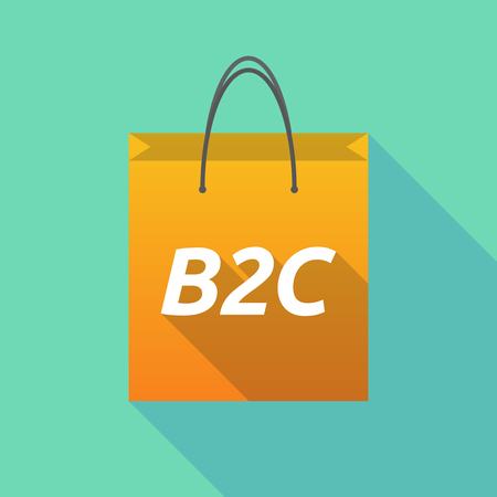 Illustration of a long shadow shopping bag with    the text B2C Illustration