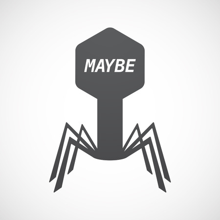maybe: Illustration of an isolated virus with    the text MAYBE
