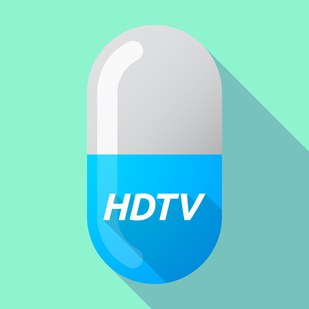 hdtv: Illustration of a long shadow medical pill with    the text HDTV