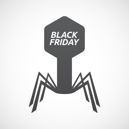 Illustration of an isolated virus with    the text BLACK FRIDAY Illustration