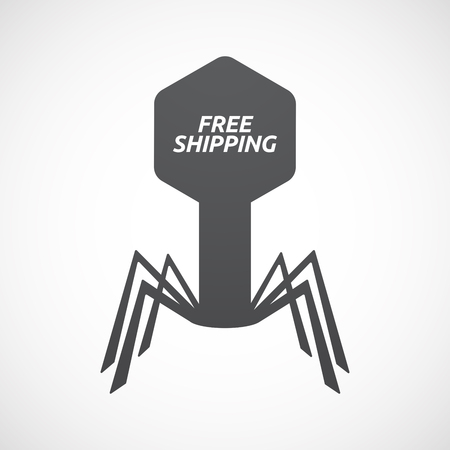 Illustration of an isolated virus with    the text FREE SHIPPING