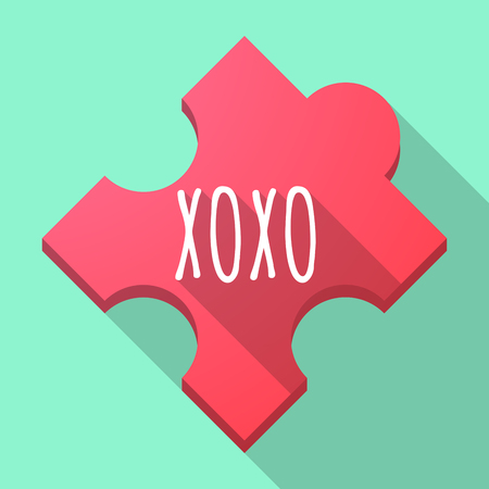 Illustration of a long shadow puzzle piece with    the text XOXO Illustration