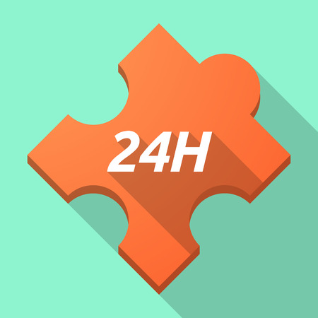 Illustration of a long shadow puzzle piece with    the text 24H Illustration