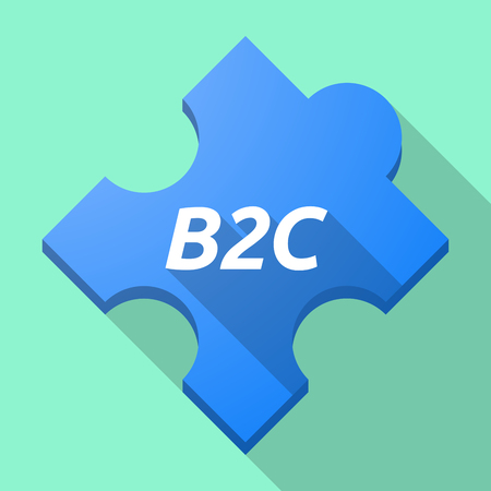 Illustration of a long shadow puzzle piece with    the text B2C