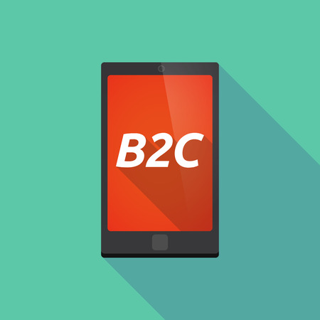 b2c: Illustration of a long shadow smart phone with    the text B2C