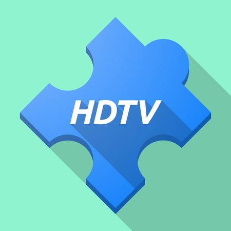 hdtv: Illustration of a long shadow puzzle piece with    the text HDTV