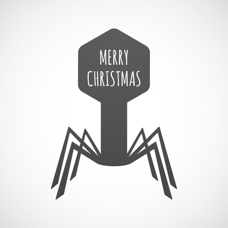 Illustration of an isolated virus with    the text MERRY CHRISTMAS
