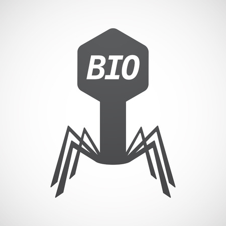 Illustration of an isolated virus with  the text  BIO Illustration