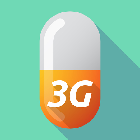 3g: Illustration of a long shadow medical pill with    the text 3G