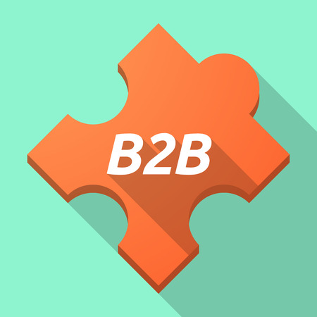 Illustration of a long shadow puzzle piece with    the text B2B
