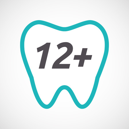 number twelve: Illustration of an isolated line art tooth with    the text 12+