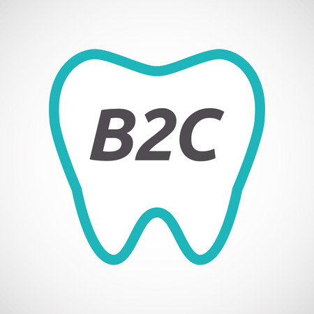 b2c: Illustration of an isolated line art tooth with    the text B2C