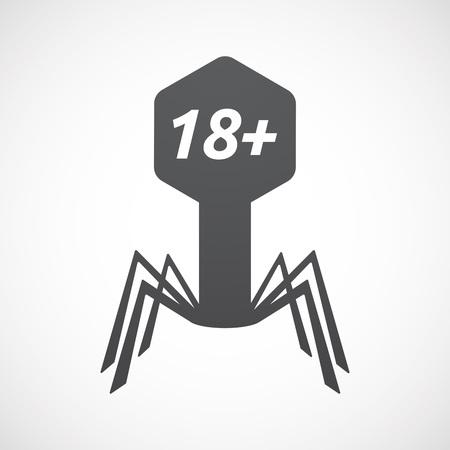 Illustration of an isolated virus with    the text 18+