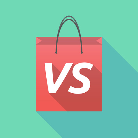 Illustration of a long shadow shopping bag with    the text VS