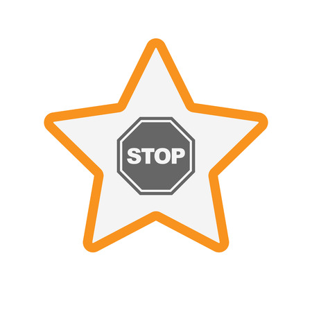 Illustration of an isolated line art star with  a stop signal