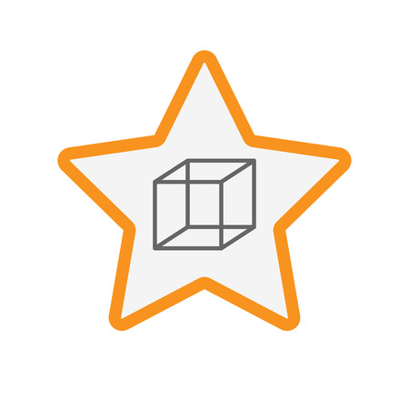 Illustration of an isolated line art star with  a cube sign